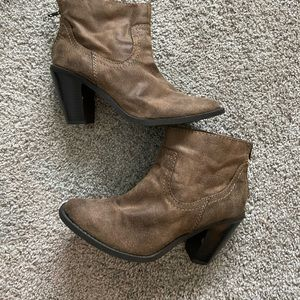 Tan Distressed Bootie